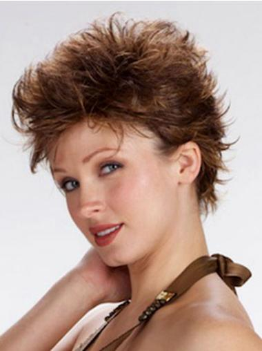 100% Hand Tied Cropped Brown Wavy Boycuts Monofilament Wig Sale