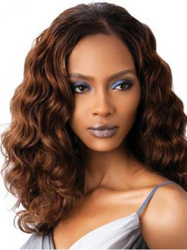 Without Bangs Shoulder Length Auburn Wavy Stylish Petite Wigs