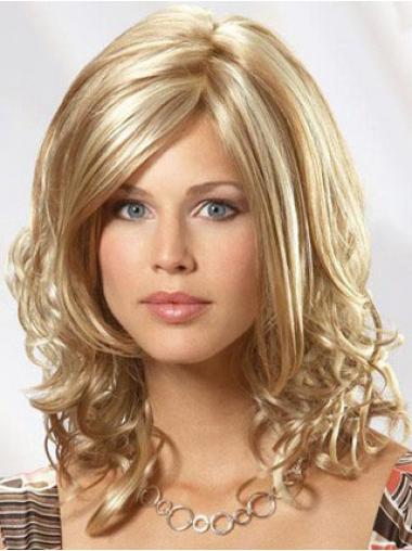 "14"" Shoulder Wavy Blonde Human Hair Monofilament Wig"