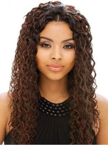 Long Auburn Without Bangs Curly Online Full Lace Wigs