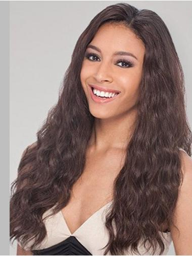 Brown Long Perfect Wavy Without Bangs Lace Wigs