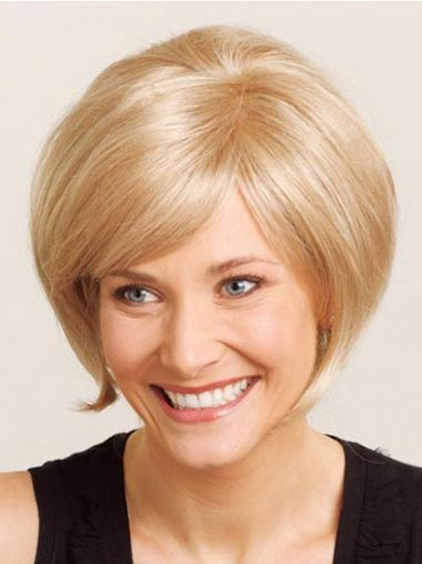 Chin Length Straight 100% Hand-tied Blonde Online Bob Wigs