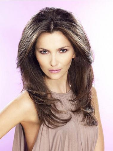 Straight Without Bangs Long Brown Fashion Lace Front Wigs