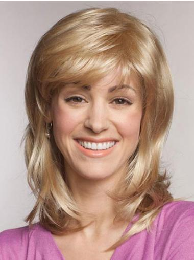 Straight With Bangs Shoulder Length Blonde Popular Lace Front Wigs