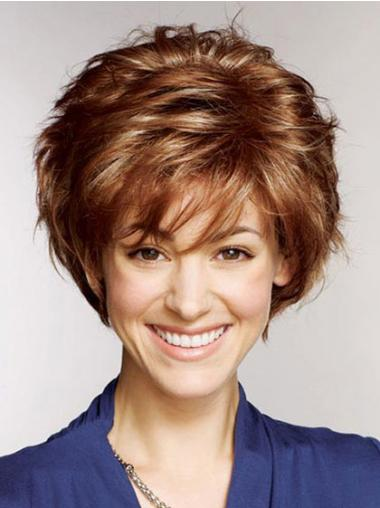 Remy Human Layered Straight Short Auburn Petite Wigs Monofilament