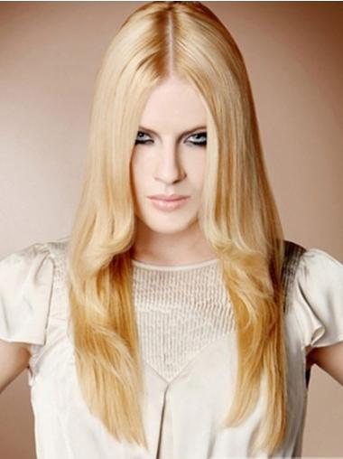 "22"" Straight Blonde 100% Hand Tied Synthetic Mono Cap Wigs"