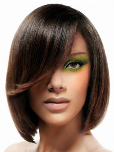 Lace Front Chin Length Straight Brown No-Fuss Bob Wigs