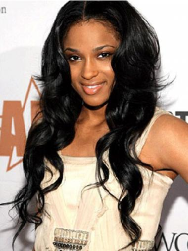 Stylish Black Long Wavy Without Bangs Ciara Princess Harris Lace Wigs