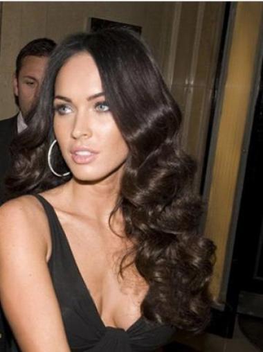 """24"""" Monofilam Remy Huamn Black Wavy Cheap Monotop Megan Fox Wigs"""