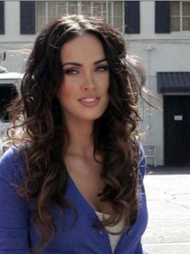 Remy Heman Auburn Long Wavy Human Hair Mono Top Megan Fox Wigs