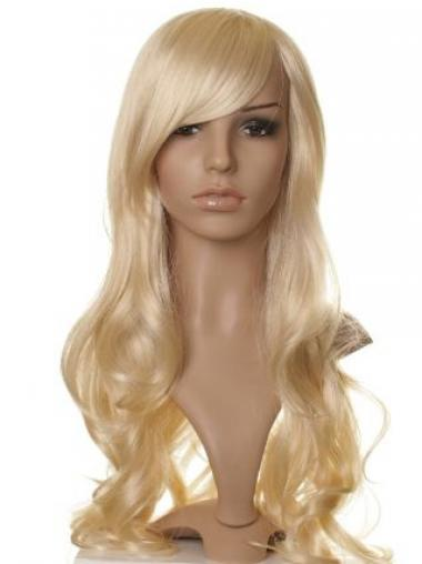 Designed Blonde Long Wavy With Bangs Celebrity Wigs