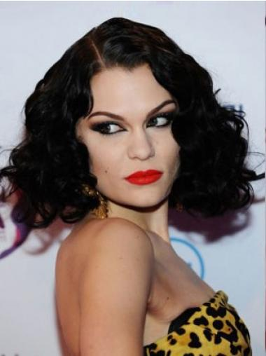 "14"" Amazing Black Chin Length Curly Classic Jessie J Wigs"
