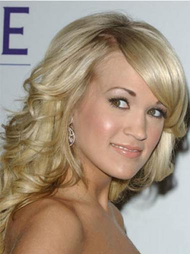 "Online Blonde Shoulder Length Wavy 14"" With Bangs Carrie Underwood Wigs"