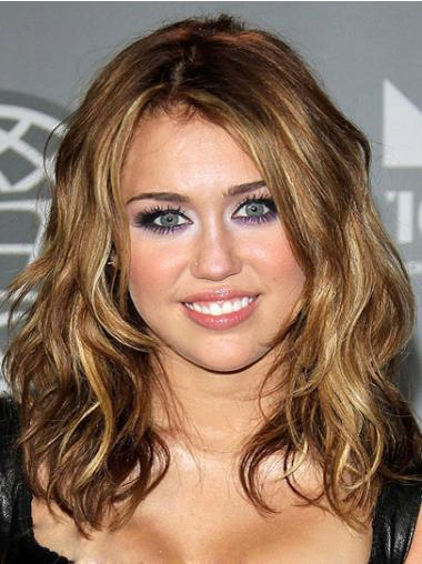 Synthetic Capless Brown Shoulder Wavy Miley Cyrus Hair Wigs