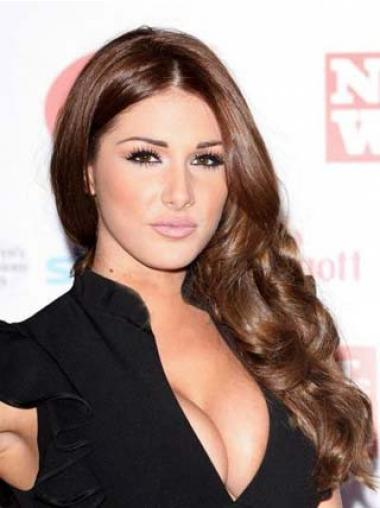 Remy Human Long Wavy 100% Hand Tied Auburn Mono Lace Front Lucy Pinder Wig