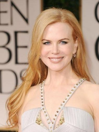 "Trendy Blonde Long Wavy 24"" Without Bangs Nicole Kidman Lace Wigs"