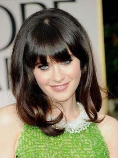 "Comfortable Brown Shoulder Length Wavy 14"" With Bangs Zooey Deschanel Lace Wigs"