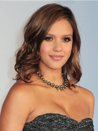Wavy Capless Layered Shoulder Length Brown Sleek Jessica Alba Wigs