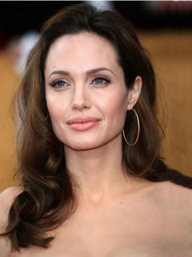 """16"""" Brown Wavy Human Hair Lace Front Monofilament Top Angelina Jolie Wigs"""