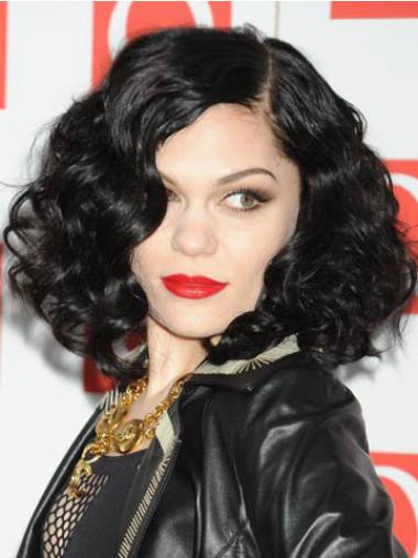 "14"" Beautiful Black Chin Length Curly Without Bangs Jessie J Wigs"