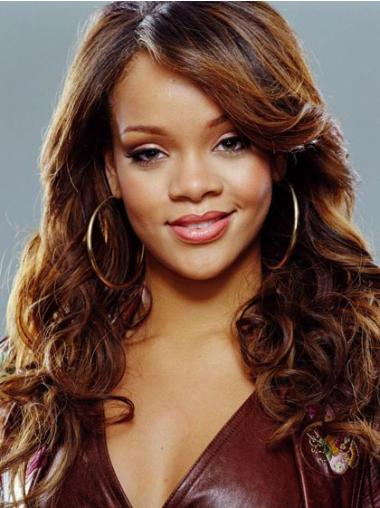 "18"" Synthetic Long Curly Capless With Bangs Wig Rihanna"