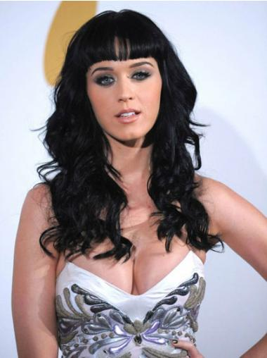 """16"""" No-Fuss Black Long Wavy With Bangs Katy Perry Wigs"""