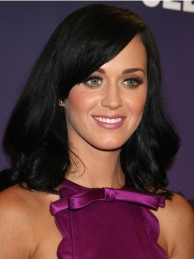 "16"" Ideal Black Shoulder Length Straight With Bangs Katy Perry Wigs"