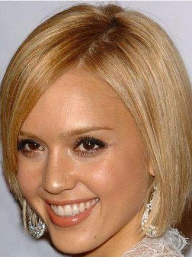 Straight 100% Hand-tied Bobs Chin Length Blonde Online Jessica Alba Wigs