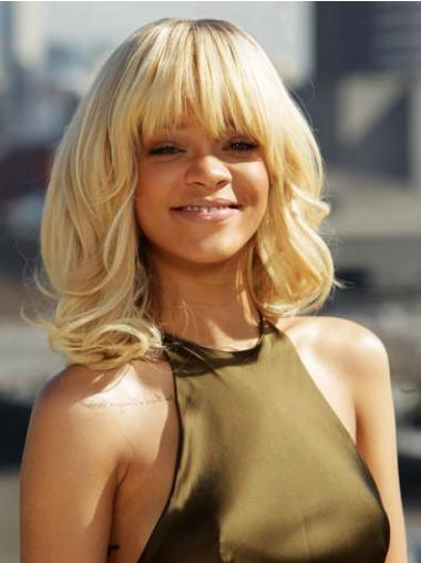 Incredible Shoulder Length Blonde Curly Capless Rihanna Wigs