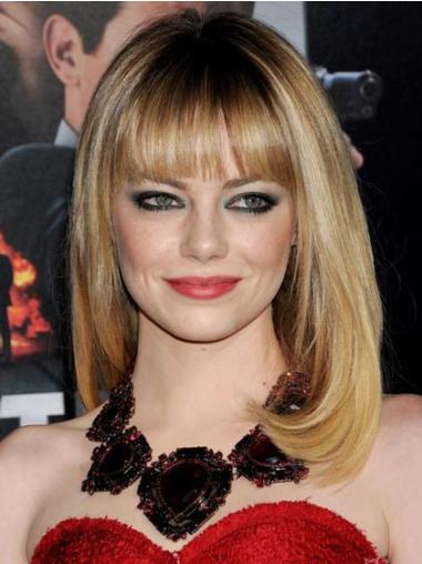 Synthetic Blonde Shoulder Straight With Bangs Emma Stone Wigs