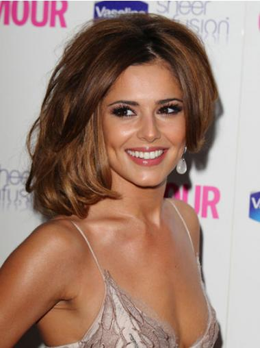 "Comfortable Brown 12"" Wavy Chin Length Layered Cheryl Cole Wigs"