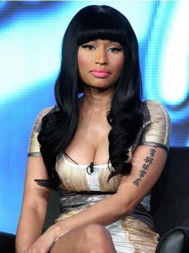 "22"" Black Wavy With Bangs Long Style Nicki Minaj Wigs"