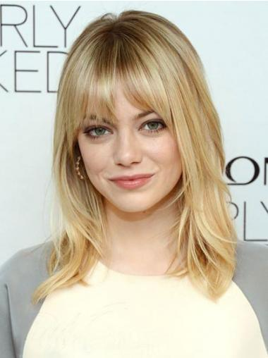 "Comfortable Blonde Shoulder Length Straight 16"" With Bangs Emma Stone Wigs"