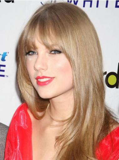 "Soft Blonde Long Straight 20"" With Bangs Taylor Swift Wigs"