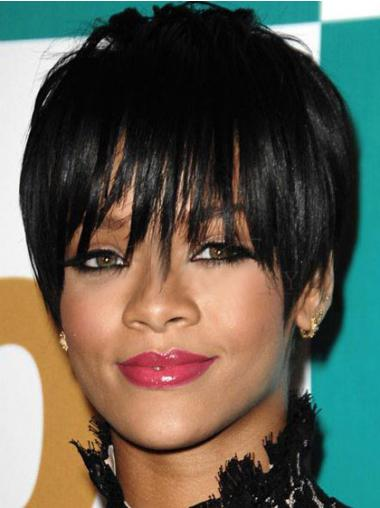Suitable Cropped Black Straight Capless Rihanna Wigs
