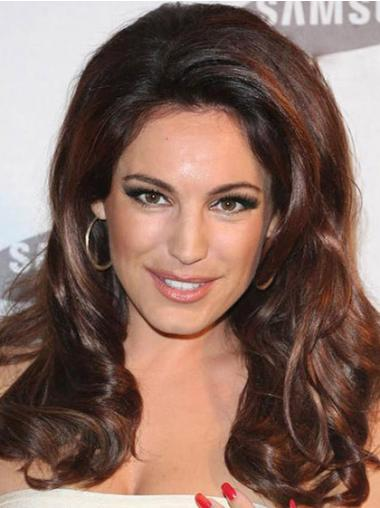 "No-Fuss Auburn Long Wavy 16"" Without Bangs Kelly Brook Lace Wigs"