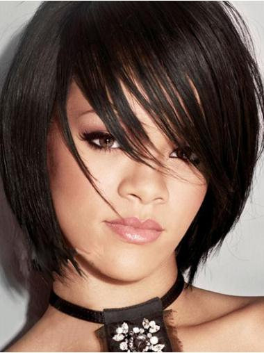 Rihanna Wig Chin Length Bobs Cut Remy Human Straight Style