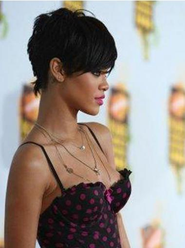 Popular Cropped Black Straight Capless Rihanna Wigs