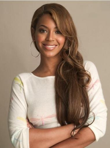 "Brazilian 24"" Brown Lace Front Wavy With Bangs Beyonce Wigs"