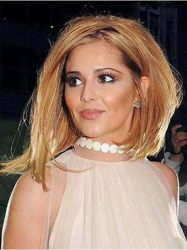 Cheryl Cole Wig UK With Capless Straight Style Shoulder Length Auburn Color