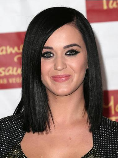 "12"" Convenient Black Shoulder Length Yaki Without Bangs Katy Perry Wigs"