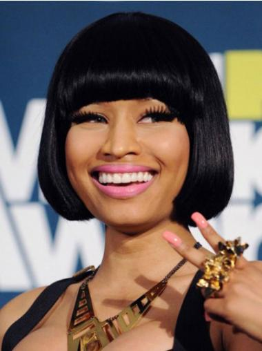 Black Straight Bobs Chin Length Cheapest Nicki Minaj Wigs