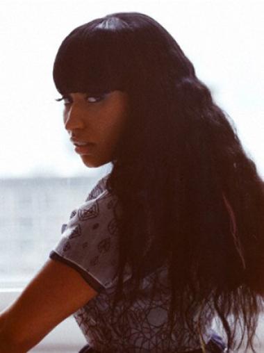 "24"" Black Wavy With Bangs Long Suitable Nicki Minaj Wigs"