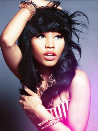 Nicki Minaj Wigs With Bangs Lace Front Shoulder Length