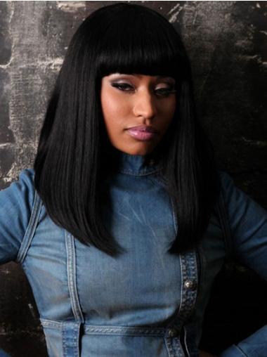 Indian Remy Shoulder Black With Bangs Nicki Minaj Wig