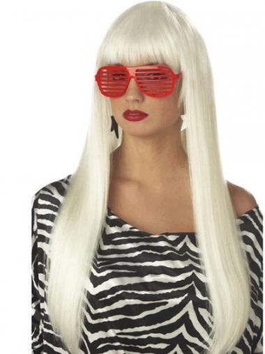 "24"" Popular Long Straight With Bangs Lady Gaga Wigs"