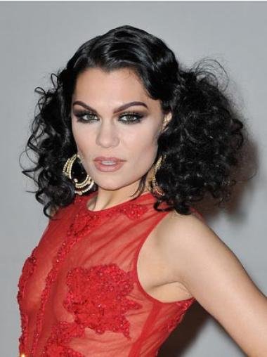 "16"" Sleek Black Shoulder Length Curly Classic Jessie J Wigs"