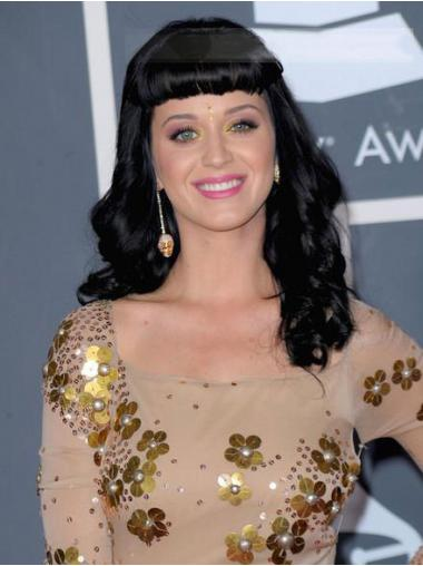 """20"""" Style Black Long Wavy With Bangs Katy Perry Wigs"""