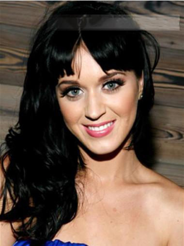"""20"""" Good Black Long Wavy With Bangs Katy Perry Wigs"""