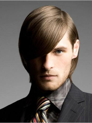 Brown Chin Length Remy Human Straight Wig For Man